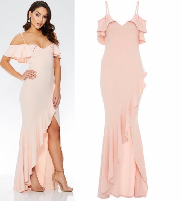 QUIZ sukienka maxi hiszpanka pudrowy róż wesele L 40 w