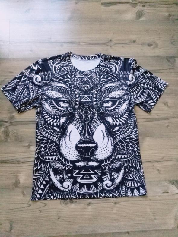 Nowa elastyczna męska koszulka wilk rozmiar M