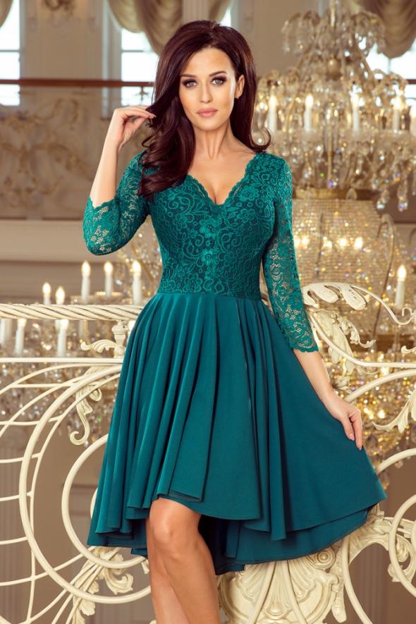 NICOLLE sukienka asymetryczna koronka ZIELONA