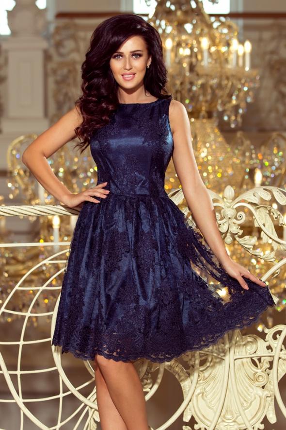 Ekskluzywna rozkloszowana sukienka GRANATOWY HAFT