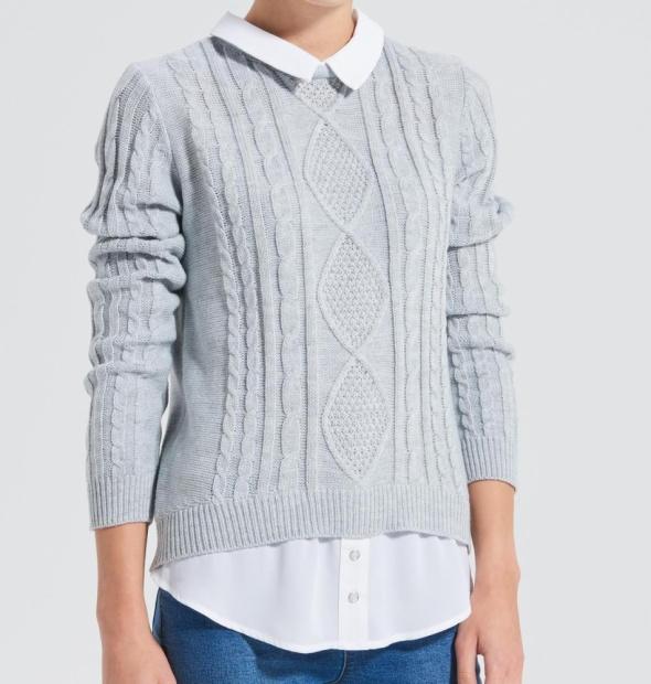 Szary sweter warkocze z kołnierzykiem casual