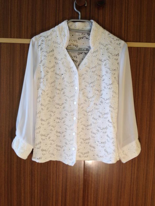 Biała koszula Koronkowa przeźroczyste rękawy XS S
