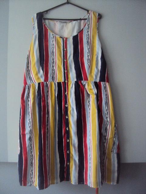 rozpinana sukienka w kolorowe paseczki