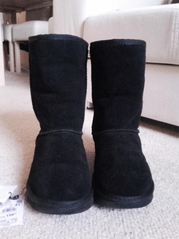 Reserved czarne skórzane śniegowce jak emu 26 cm jak nowe