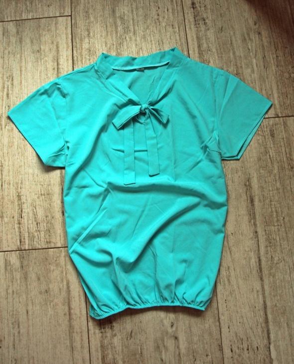 Bluzka turkusowa kokarda moda hit gumka