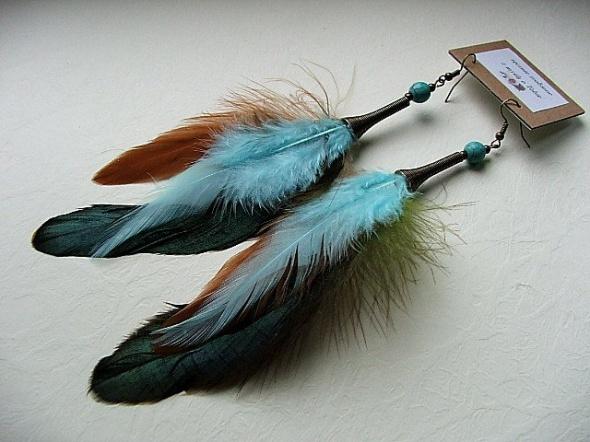 kolczyki boho etno hippie pióra indiańskie kolorowe howlit turkus