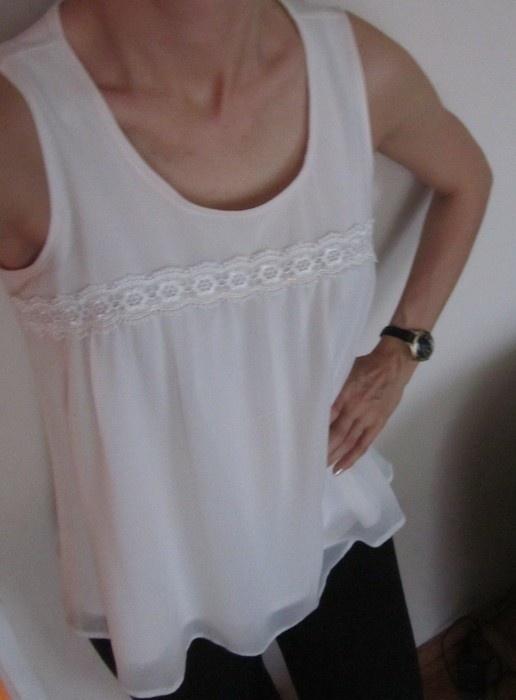 Bluzki biała bluzka aplikacja