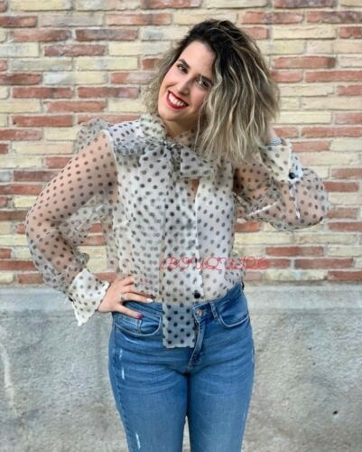 Zara 34 xs koszula groszki kokarda Blog