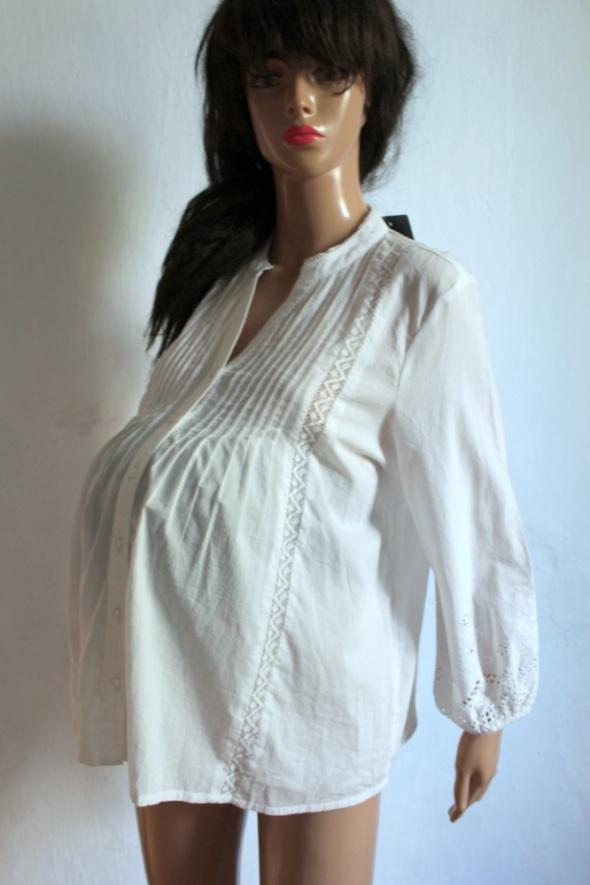 Biała koszula z haftowaną koronką idealna na ciąże r L