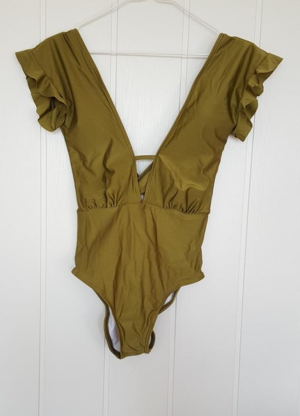 eaf335f0525c9f Nowy strój kąpielowy L 40 zielony oliwkowy khaki dekolt plecy falbany piękny