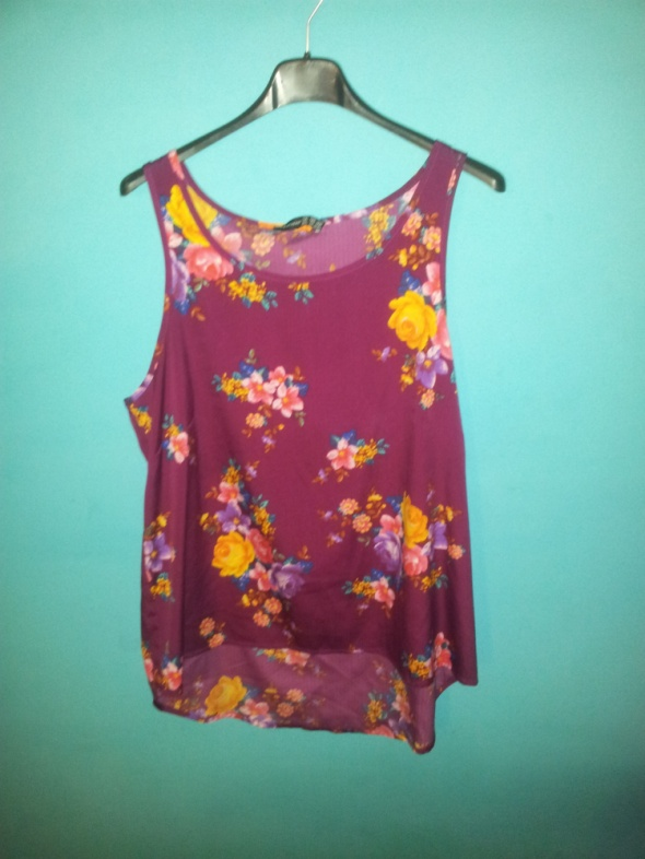 Bordowa bluzka w kwiatki 42