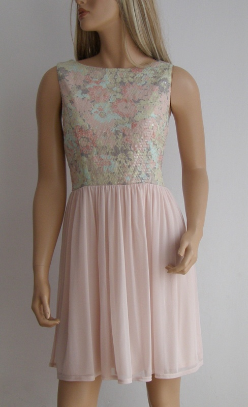 sukienka cekiny pastelowa 42 XL Atmosphere zdobiona...