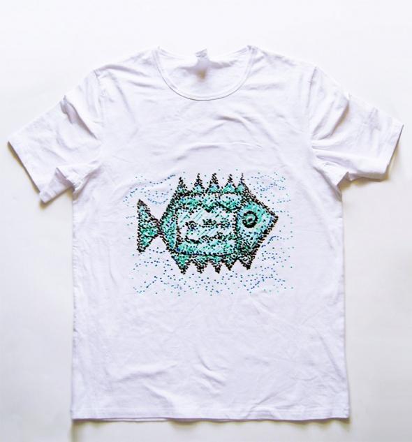 Biała koszulka XL z rybą Fish 3