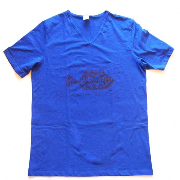 Koszulka granatowa XXL z rybą 1