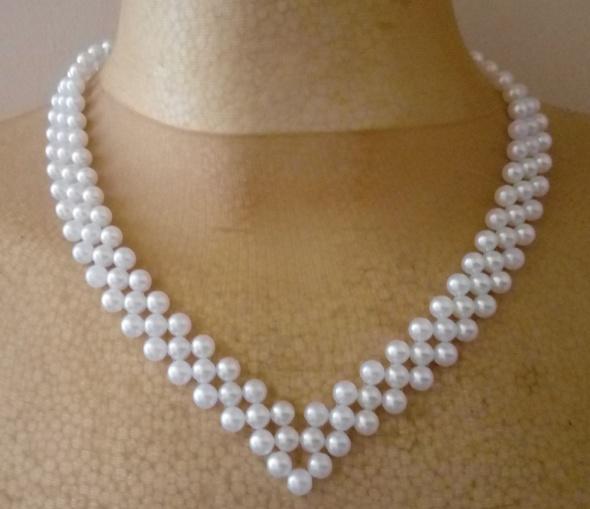 Naszyjnik bransoletka perełki biały