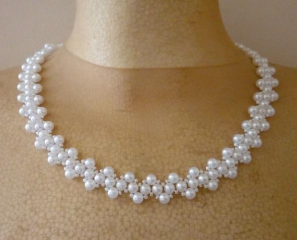 Naszyjnik bransoletka kolczyki perełki biały