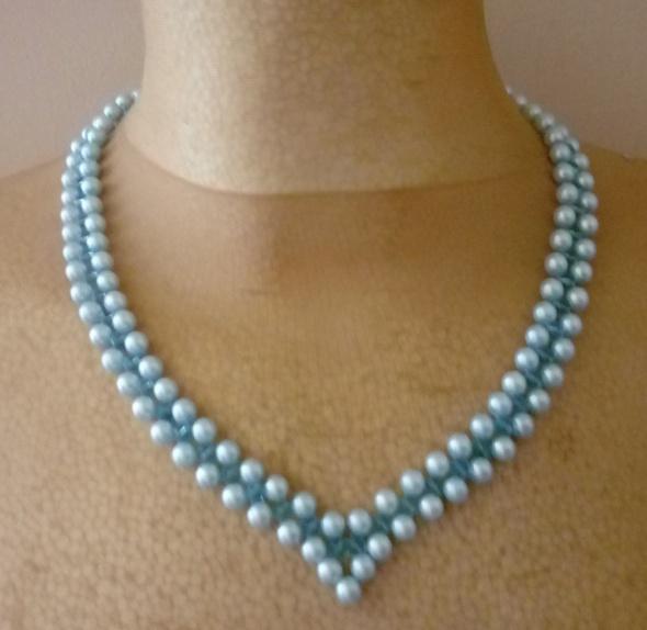 Naszyjnik perełki koraliki bransoletka kolor jasno niebieski
