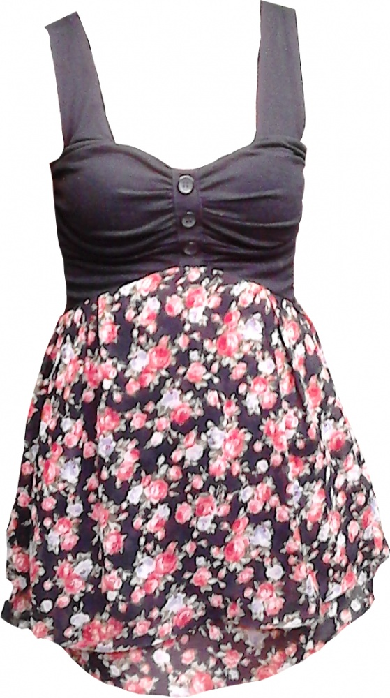 Śliczna mini sukienka kwiatki lekko rozkloszowana