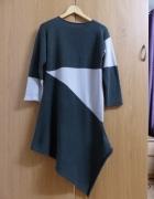 Oryginalna sukienka asymetryczna z dzianiny rozmiar M