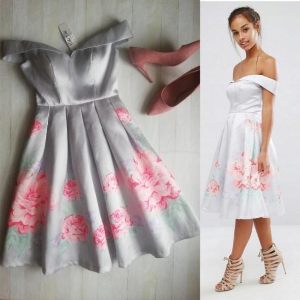 Chi Chi London sukienka kloszowana pudrowy róż, zara, wesele