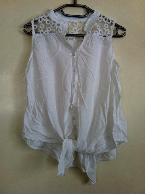 Koszulowa tunika koszula biała koronka na plecach