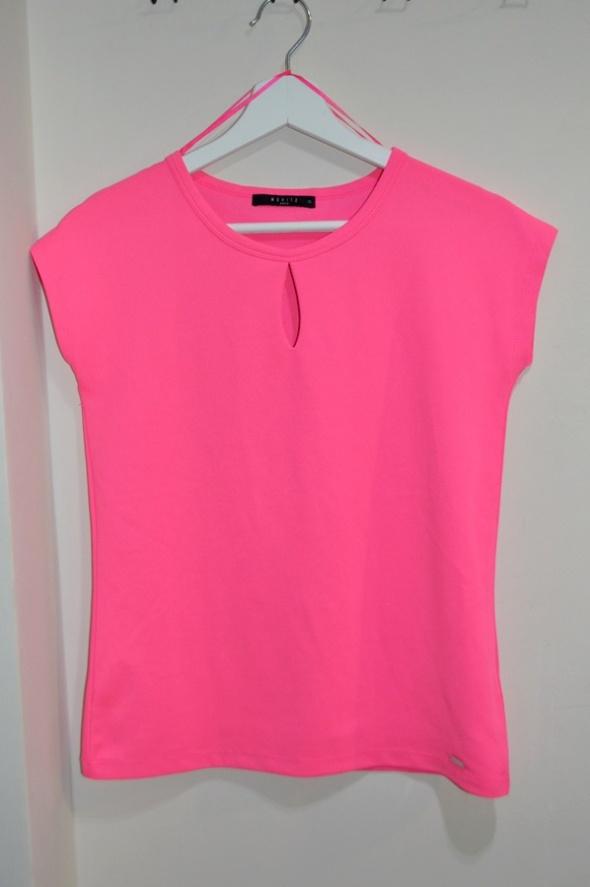 Neonowa różowa bluzka łezka krótki rękaw XS...