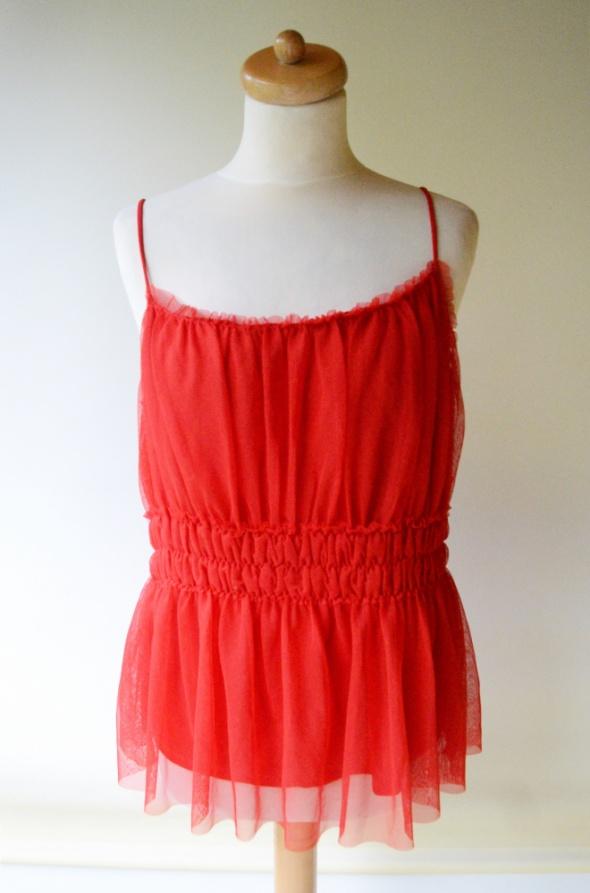 Bluzka Czerwona H&M Tiul L 40 Falbanka Tiulu...