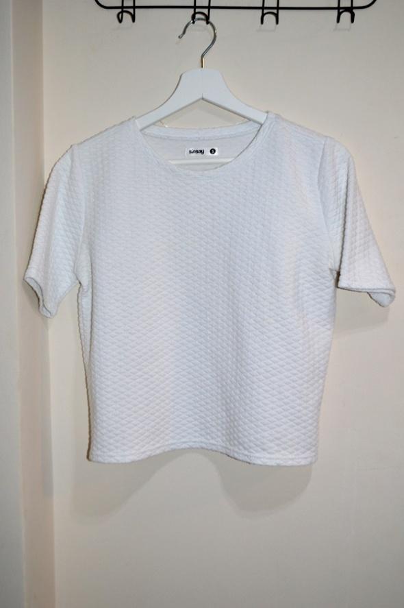 Biała bluzka z krótkim rękawem S...