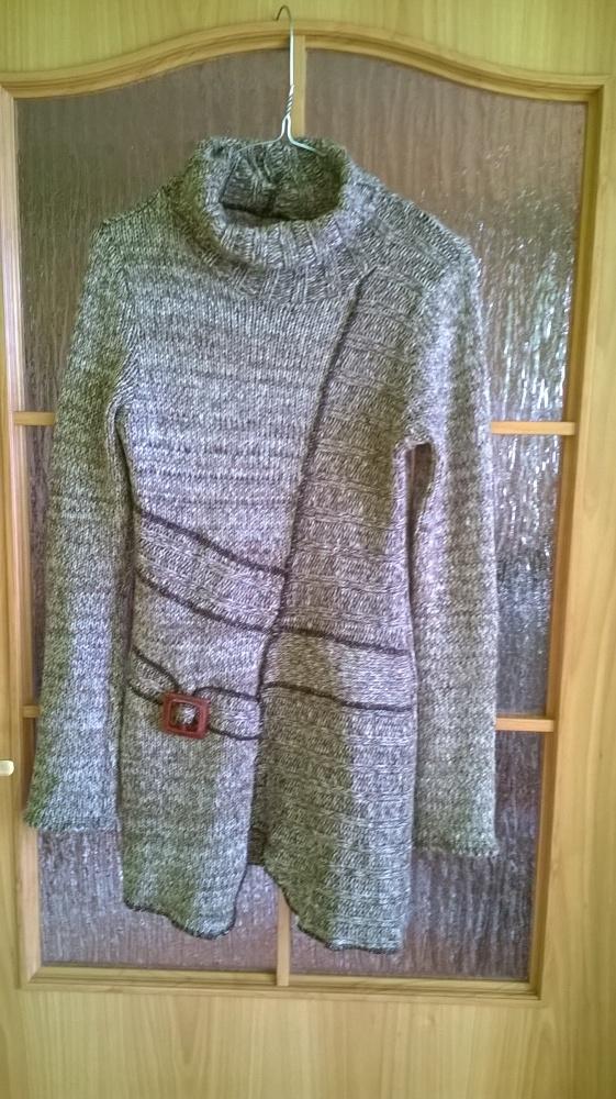 Asymetryczny sweterek klamra melanż M S 38 36