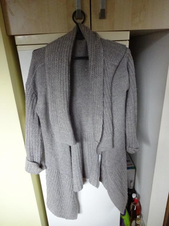 Swetry Szary siwy kardigan sweter ONLY L wełniany