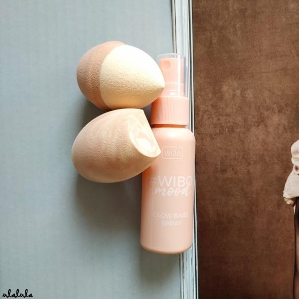 Wibo Wibomood Glow Babe Spray utrwalający do makijażu Primark Nudes 2 gąbki jajka do makijażu