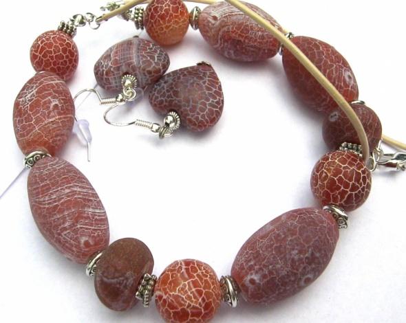 Agat trawiony matowy Oryginalny zestaw biżuteri