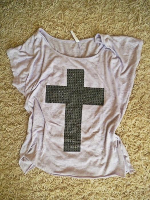 fioletowa liliowa koszulka oversize z nadrukiem M