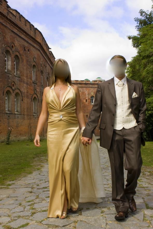 Suknie i sukienki Złota sukienka rozm 40