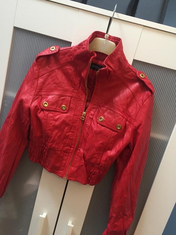 Czerwona krótka kurtka XS eko skóra