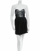 sukienka czarna srebrna bez szelek...