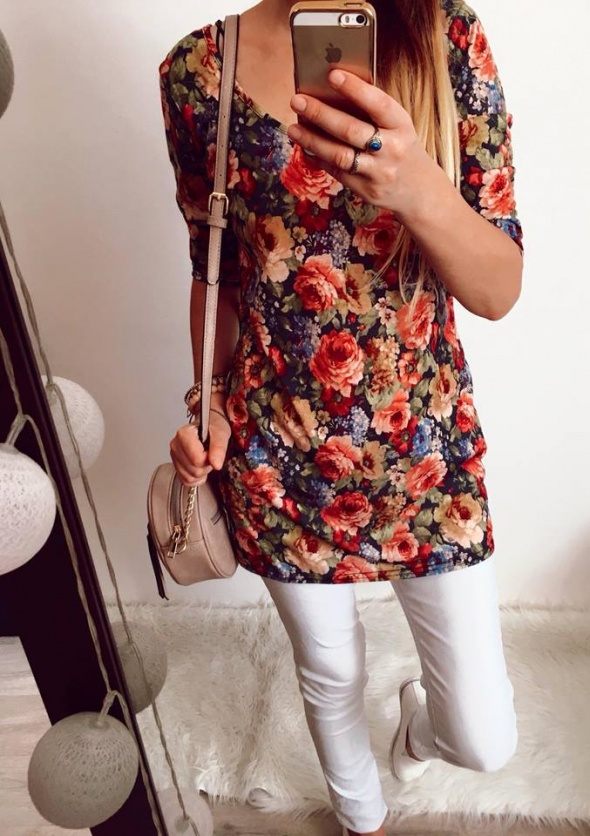 Bluzka Tunika Damska kwiaty M