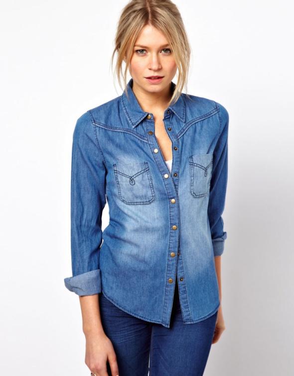Oasis jeansowa koszula z długim rękawem vintage