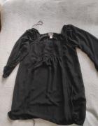 Tunika z siateczki czarna styl romantyczny M...