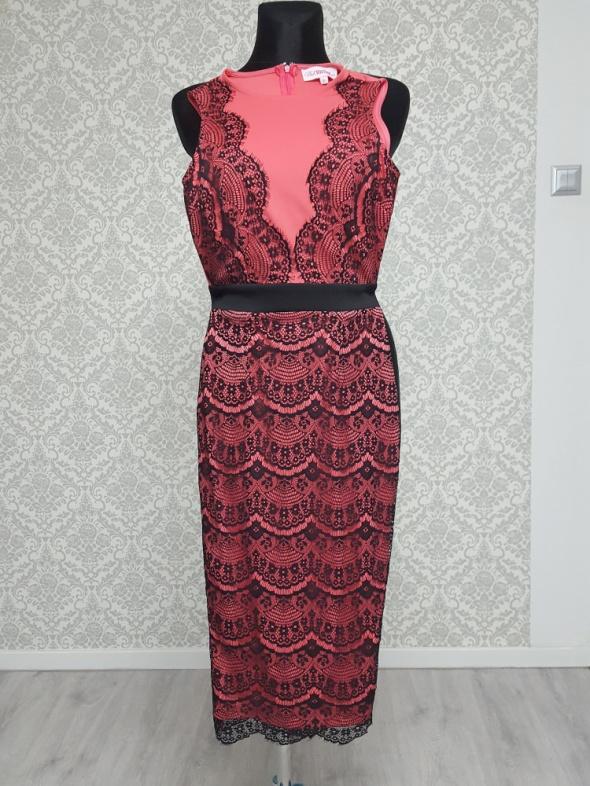 różowo czarna sukienka z koronką Pink...