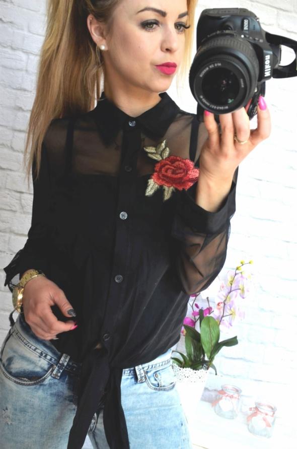 czarna koszula siatka na rekawach roza