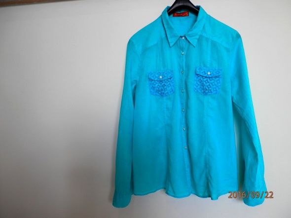 Koszula Błękitna Turkusowa z Koronką Bawełniana 38