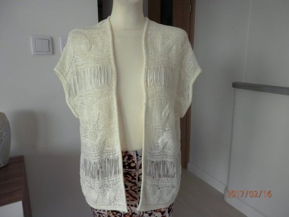 Kamizelki Blezer Kremowy Narzutka Kimono by UK 36