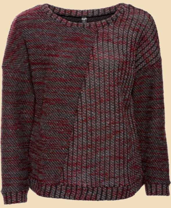 Sweter melanż różne sploty oryginalny...
