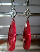 Czerwone kryształowe kolczyki