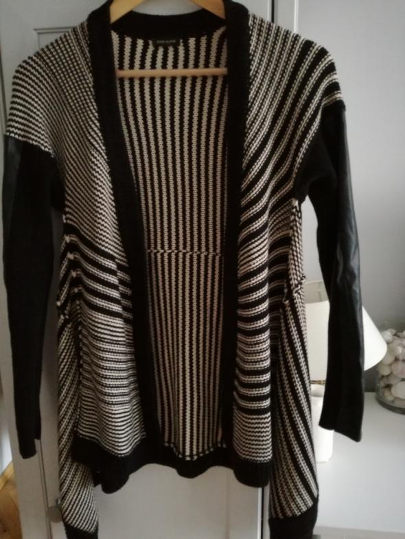 Swetry Kardigan ze skórzanymi rękawami