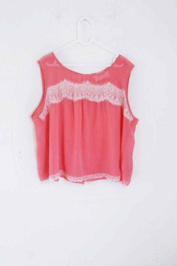 bluzka koszulka mgiełka koszula river island L koronka neon ele...