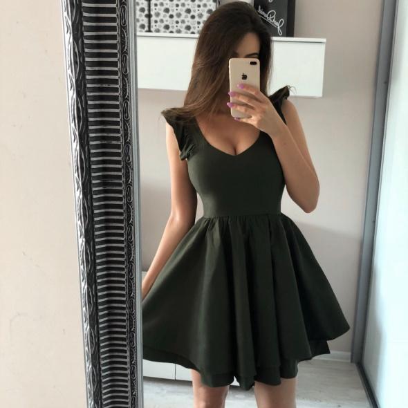 Sukienka rozkloszowana Sally Tenezito Khaki XS