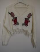 Shein krótki sweter oversize strzępienia róże hit...