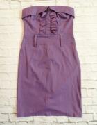 Fioletowa Sukienka z Żabotem...
